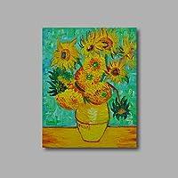 どのように- ハング塗装油絵 @ ハング塗装油絵 手描きの - 花柄/植物の 近代の キャンバス,内枠を含めます