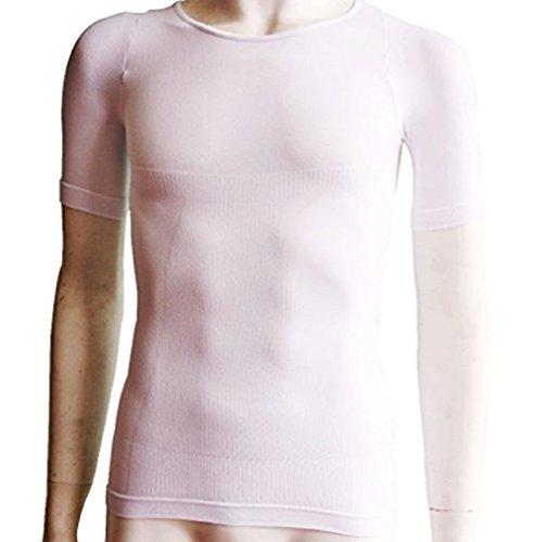 締-TAI-(タイ)Tシャツ 着圧加圧Tシャツ 鉄筋TEKKINシャツ兄弟ブランド (M-L, 白(ホワイト))