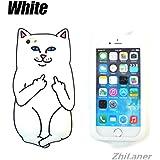 ZhiLaner 携帯カバー iPhone8ケース シリコン 衝撃吸収 iPhone7カバー ネコ 猫 アイフォン6カバー おもしろ 6plusケース アイフォン5/SE ソフト 全面保護 8plusケース 人気 おしゃれ (iPhone7/8, ホワイト)