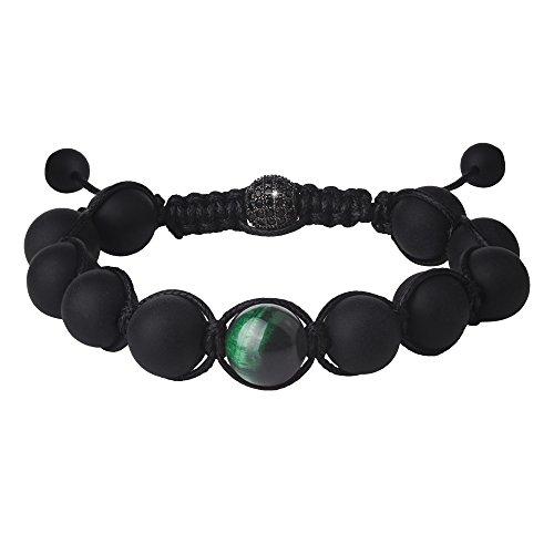 JEKA(ジェカ) ブラック 艶消オニキス、タイガーアイ金運上昇、開運結びブレスレット 祈り腕輪数珠 長さ調節可能 ユニセックス
