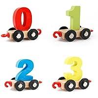 goodsceneクリエイティブpull-alongおもちゃ木製Build Up TrainおもちゃPull Alongおもちゃfor Toddlers (カラフル)