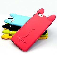iPhone6 (4.7インチ) ネコミミ ソフト ケース カバー 液晶保護フィルム&オリジナルクリーナー付き 赤 レッド Luna&Stella LSIP617RE