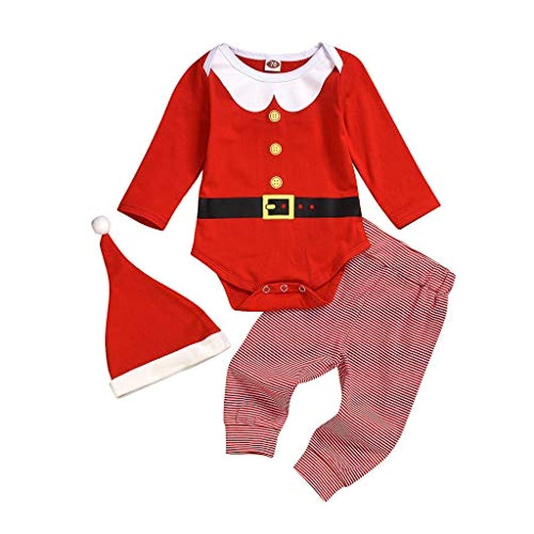 意気込み人木曜日MISFIY 赤ちゃん ベビー服 3点セット フード付き サンタ柄 パジャマ 男の子 女の子 着ぐるみ クリスマス 長袖 子供 綿 肌着 可愛い コスチューム おしゃれ カジュアル 柔らかい 誕生記念 出産祝い プレゼント (80)