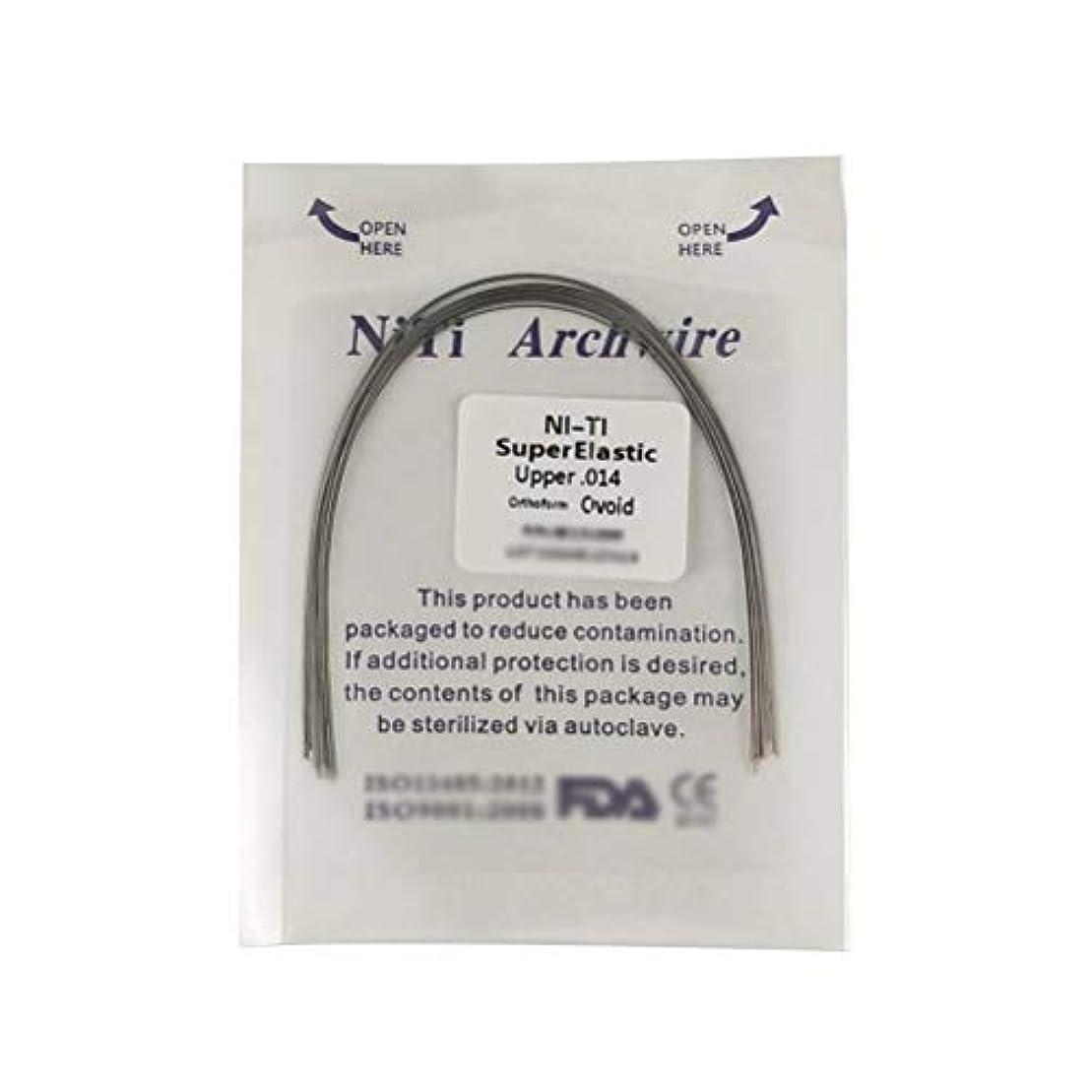 ネックレット土砂降り手のひらSUPVOX 10個Niti矯正用超弾性NitiラウンドアーチワイヤーUpper Dental Oral Supplies