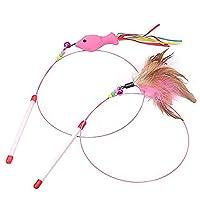 猫じゃらし 2点セット 鈴付き魚 天然羽根 ワイヤー型 広い動きを実現 猫おもちゃ