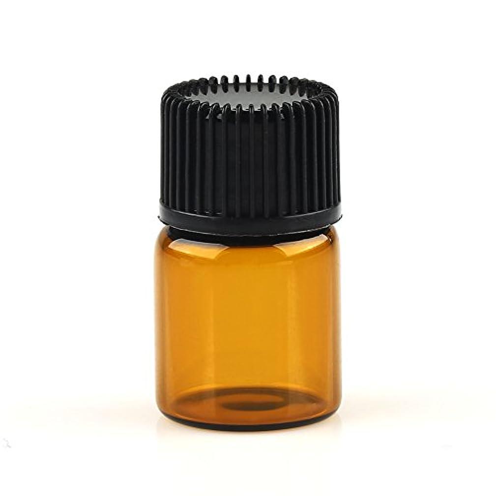 クアッガプレミア乱用VERY100 遮光ビン ミニガラスアロマボトル アロマオイル用瓶 キャップ付き 穴付き内蓋 1ml 2ml 3ml 5ml 10本セット アンバー (2ML)