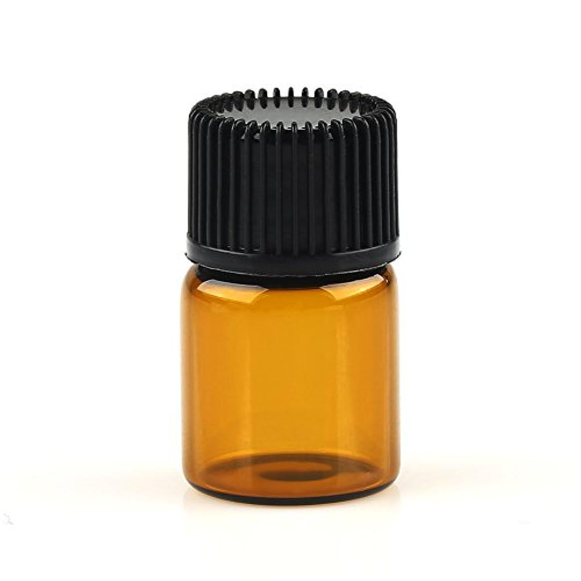 伝統私たちつまずくVERY100 遮光ビン ミニガラスアロマボトル アロマオイル用瓶 キャップ付き 穴付き内蓋 1ml 2ml 3ml 5ml 10本セット アンバー (2ML)