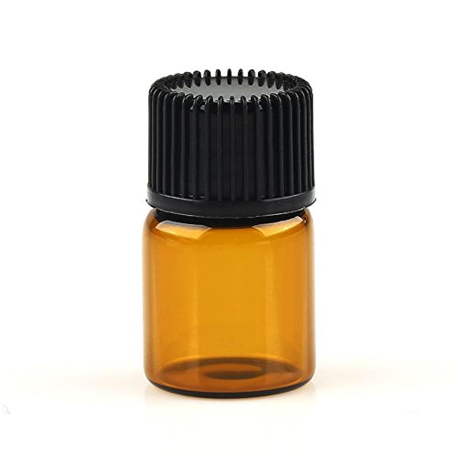 切断する名声制裁VERY100 遮光ビン ミニガラスアロマボトル アロマオイル用瓶 キャップ付き 穴付き内蓋 1ml 2ml 3ml 5ml 10本セット アンバー (2ML)