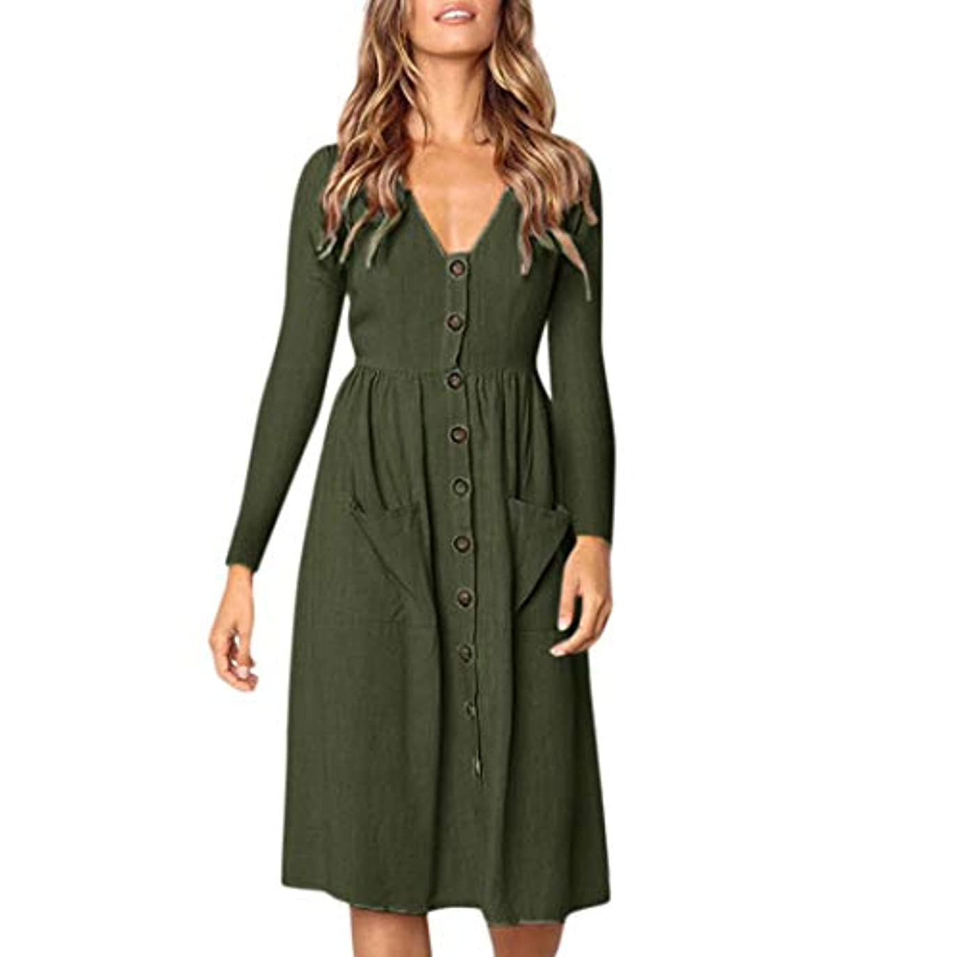 塩レバー排出SakuraBest Women V Neck Button Dress Long Sleeve Pocket Dress for Summer Aytumn