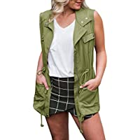 Gemijack Womens Anorak Lightweight Vests Sleeveless Military Safari Utility Drawstring Jacket with Zipper
