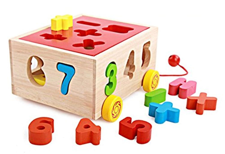 yasushoji 木のおもちゃ パズル 知育 玩具 形はめ ブロック ボックス 数字 車 YS444