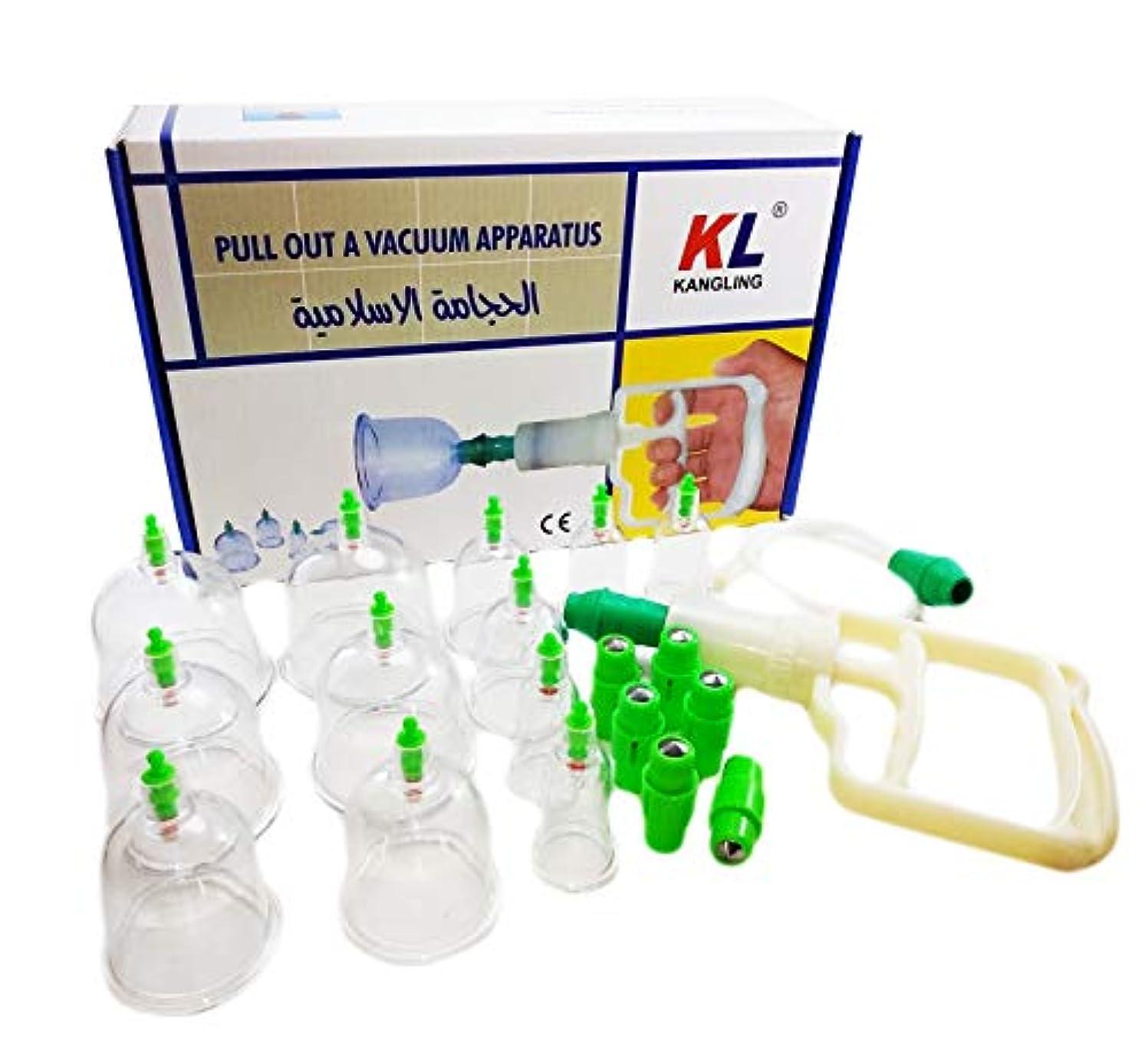 強調する倉庫と遊ぶ12 Cups Therapy Sets With Pump Vacuum, Pipe & Magnetic Acupunture Multifunctional Vacuum Cupping Body Massager Islamic Hijama Nabawi ChineseTreatment Suction