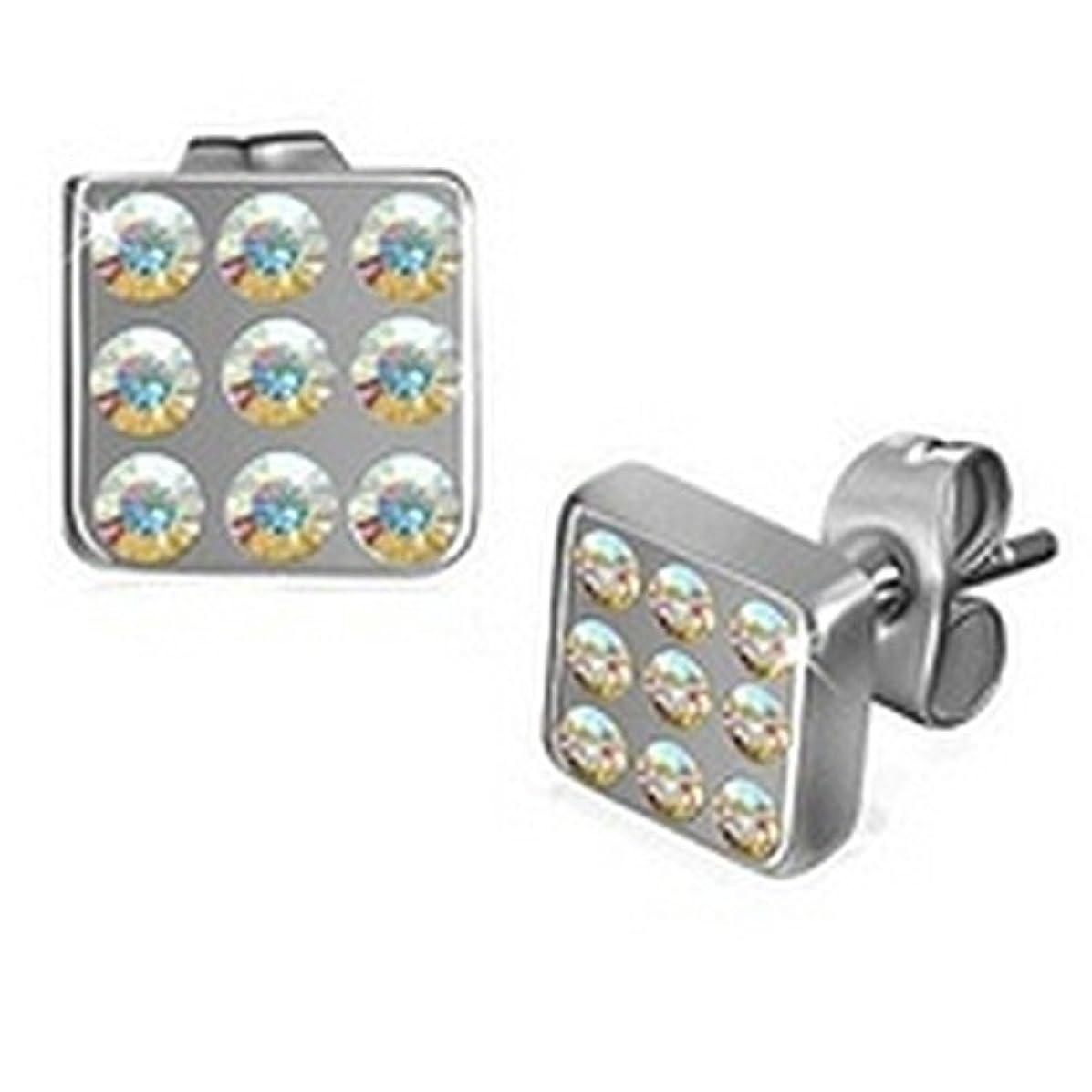 同化正しい債権者メンズステンレスPaved Deco Squareスタッドイヤリング宝石 – 6 mm直径(。23