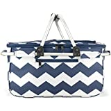 Eaglemate Foldable Outdoor Picnic Insulated Cooler Basket Storage Tote (Blue/White Waves)