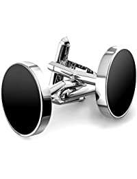 MFYS Jewelry ブラックオニキス シルバー ラウンド ファッション メンズ カフス (カフスボタン?カフリンクス) 専用ジュエリーBOX付