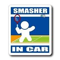 わーるどくらふと SMASHER IN CAR 【マグネット】 (あお) バドミントン・スマッシャーが車に乗ってます