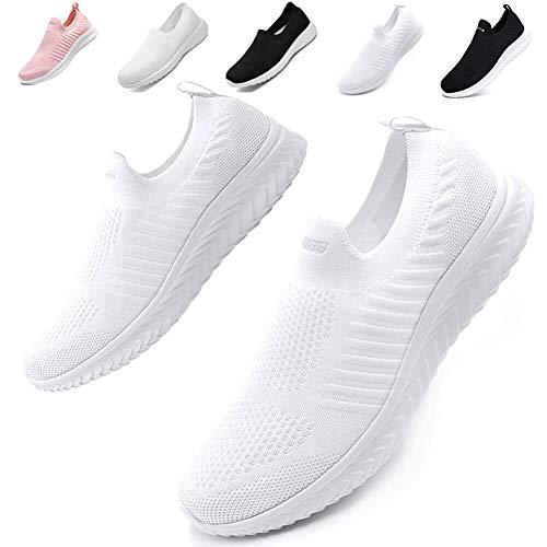 [Maxome] スニーカー ナースシューズ レディース スリッポン ウォーキングシューズ 白 黒看護師 靴 軽量 通気性 歩きやすい 履きやすい 22.5cm-25.5cm