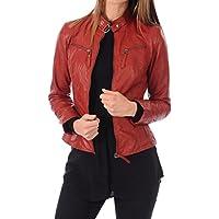 LEATHER FARM Women's Lambskin Leather Bomber Biker Jacket Brown