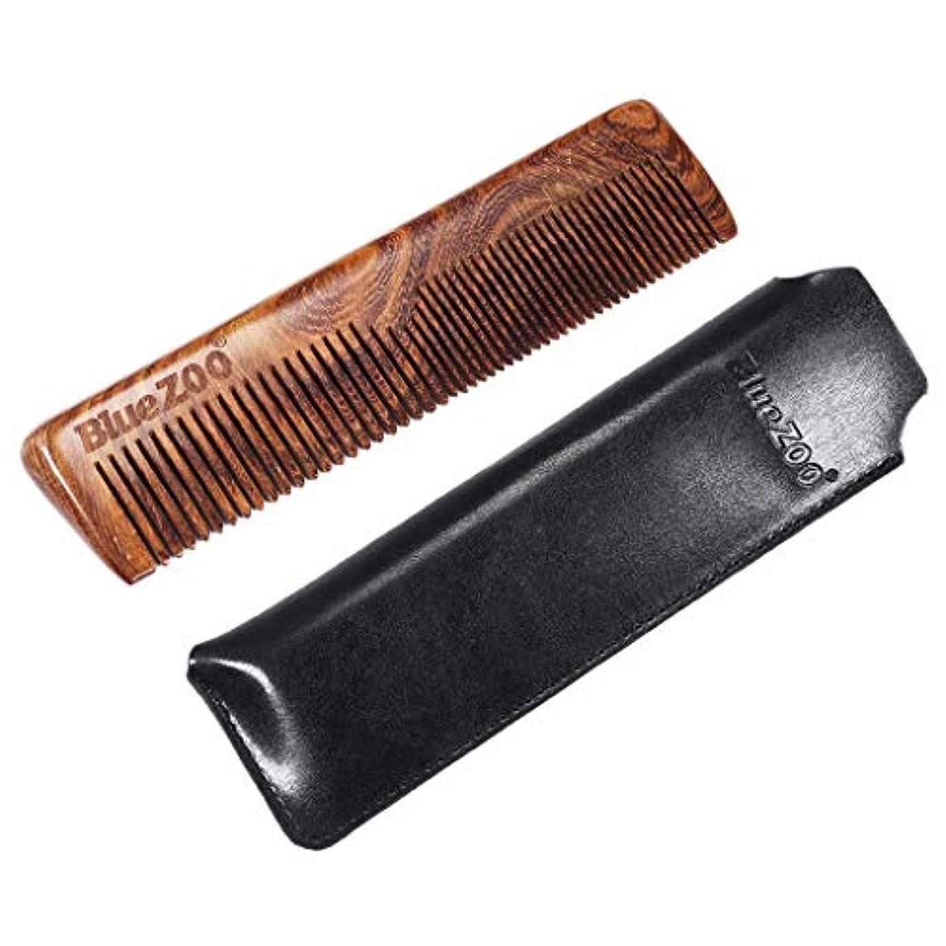 モス魅力提出するP Prettyia ウッドコーム 静電気防止櫛 ひげ櫛 ヘアブラシ 収納バッグ 2色選べ - ブラック