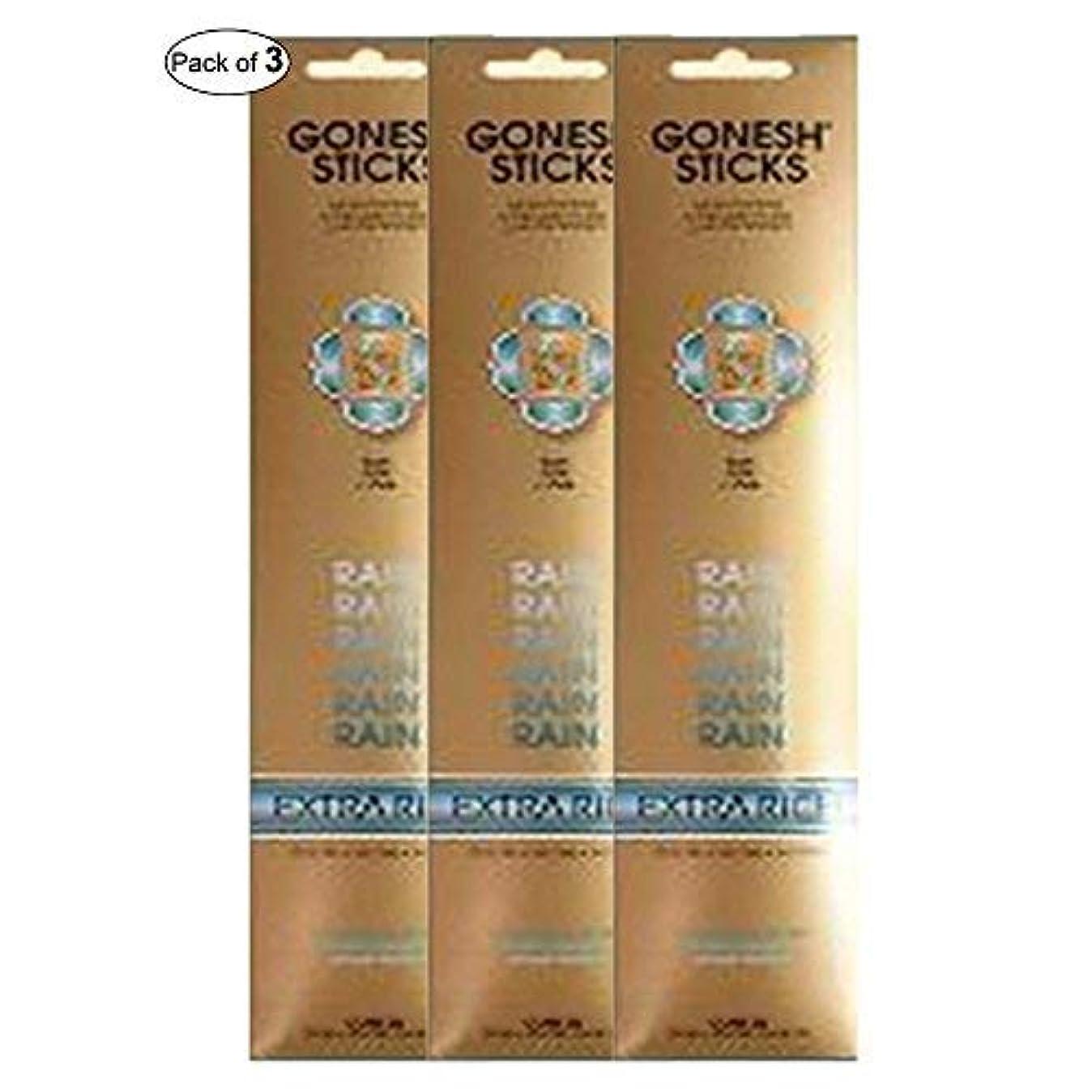 Gonesh Incense Extra rich-雨( 20 Sticks in 1パック) (パックof 3 )