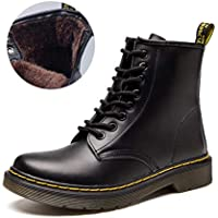 JACKSHIBO Women's Men's Fashion Leather Motorcycle Shoes Winter Combat Boots