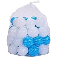 justfund 100個ブルーとホワイトソフトプラスチック海洋ボールBPAフリーCrush ProofプラスチックボールベビーキッドおもちゃSwim Pitおもちゃボールボールピットベビー子供テント