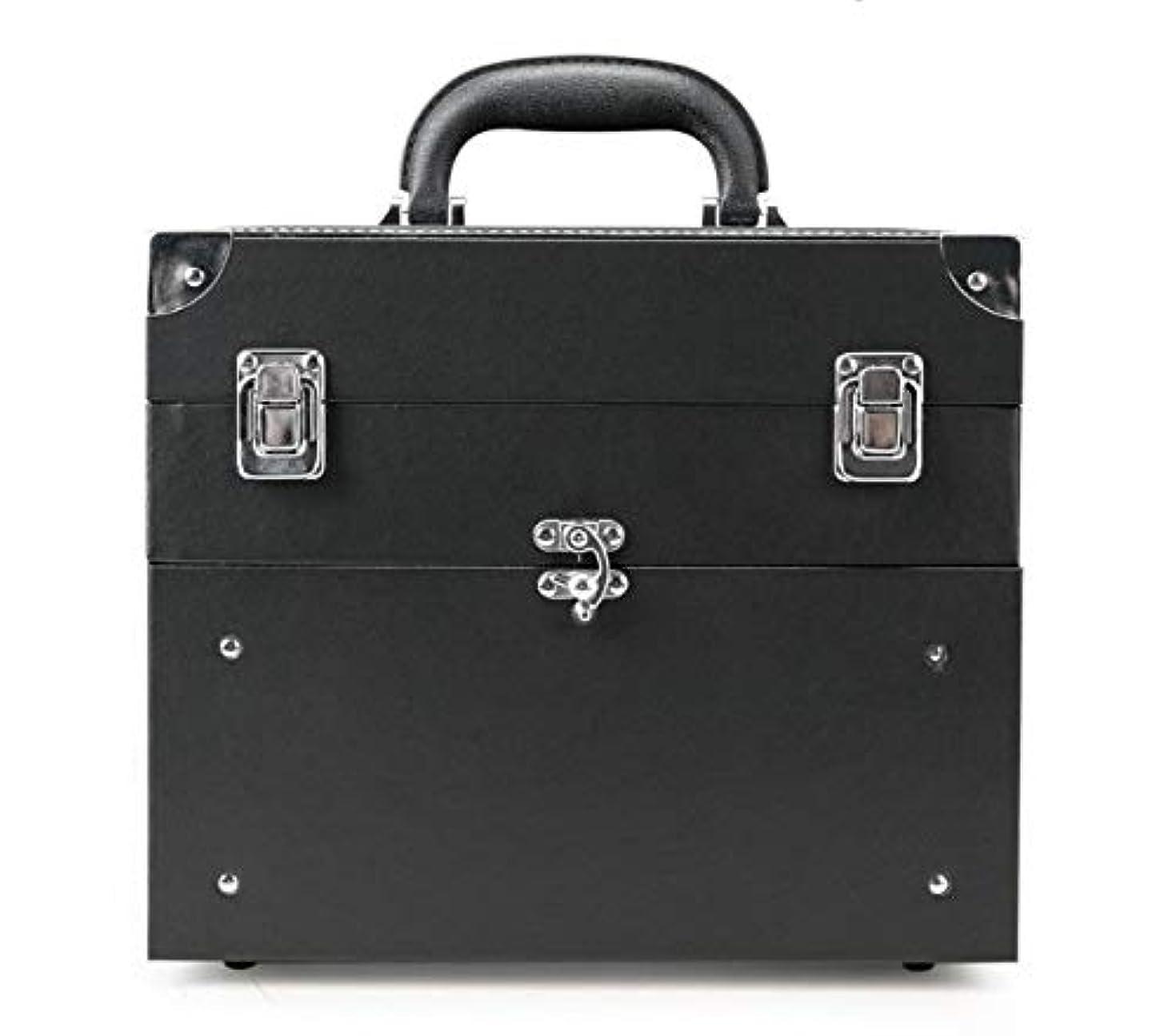 燃料直立ウナギ化粧品ケース、大容量多機能ポータブル化粧品ケース、ポータブルトラベル化粧品バッグ収納袋、美容化粧ネイルジュエリー収納ボックス (Color : ブラック)