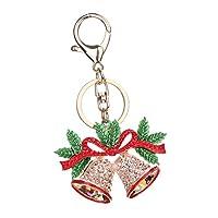 Dovewill おしゃれ クリスマス ギフト メリークリスマス ベル キーホルダー 電話 財布 クリスタル キーリング キーフォブ