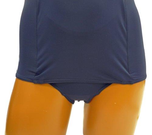 『A131(ルモード)lemode 日本製 前面スカート付きスクール水着 ラインワンピース ネイビー UVカット (11L)』の4枚目の画像