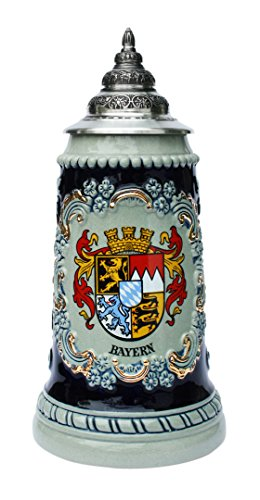 Bavaria Crestお土産ビールジョッキby King Werk | Bavaria状態Crest Coat of Arms German Beer Stein 0.5リットル