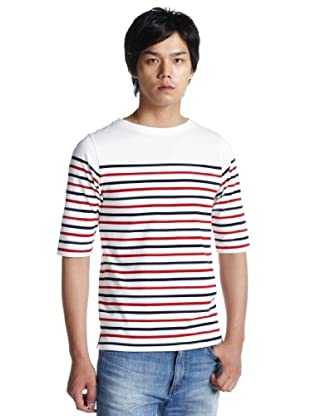 3/4 Sleeve Stripe Basque Shirt 3217-113-2843: White