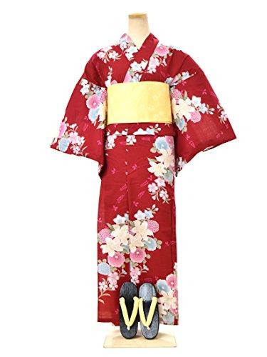 ノーブランド品 訳あり 女性 浴衣 作り帯 下駄3点セット 赤系 ピンク系 フリーサイズ 花柄系