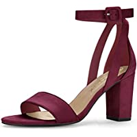 Allegra K HJ284-5 Women PU Panel Piped Chunky Heel Ankle Strap Sandals