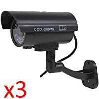 Kabalo 3 x Realistic Dummy CCTV Security Camera Flashing Red LED Indoor Outdoor Black