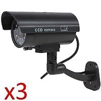 Kabalo 3 x Realistic Fake Dummy CCTV Security Camera Flashing Red LED Indoor Outdoor Black