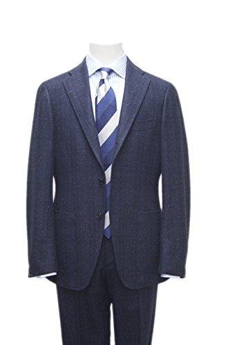 メンズ スーツ 3B パッチポケット コンバーチブル ネイビー グレンチェック ブルーオーバープレイド 53X