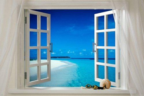 熱帯地方ウィンドウポスター美しい青空水白い砂24X36 [並行輸入品]