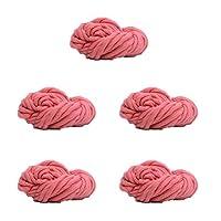 指編みのための分厚い糸かさばる放浪糸、編み物フェルト、ラグ毛布や工芸品、5かせを作る,Pink