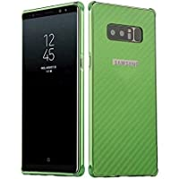 YATATECH Samsung Galaxy Note 8 バックケース + アルミバンパー 高品質な炭素繊維デザイン 耐震 耐衝撃 四つ角シリコン素材 アンチスクラッチ 防塵 背面炭素繊維紋 サムスン ギャラクシー ノート 8 ケースカバー(緑 炭素繊維)