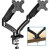FITUEYES PC モニターアーム 2画面 液晶ディスプレイ アーム ガススプリング式 デュアル スムーズな高さ調整13-27インチ対応 耐荷重2-6.5kg グロメット式&クランプ式 BMA1202MB