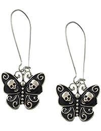 Sharplace 1ペア ボヘミアン  パンク?ロック 蝶の形 頭蓋骨型 ピアス レディース 耳飾り