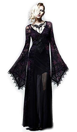 瘴気漂う深森の魔女のようなゴージャスでセクシーなダークゴシックロングワンピースドレス ゴシックパンク バイオレット レディース Mサイズ Q-265FM