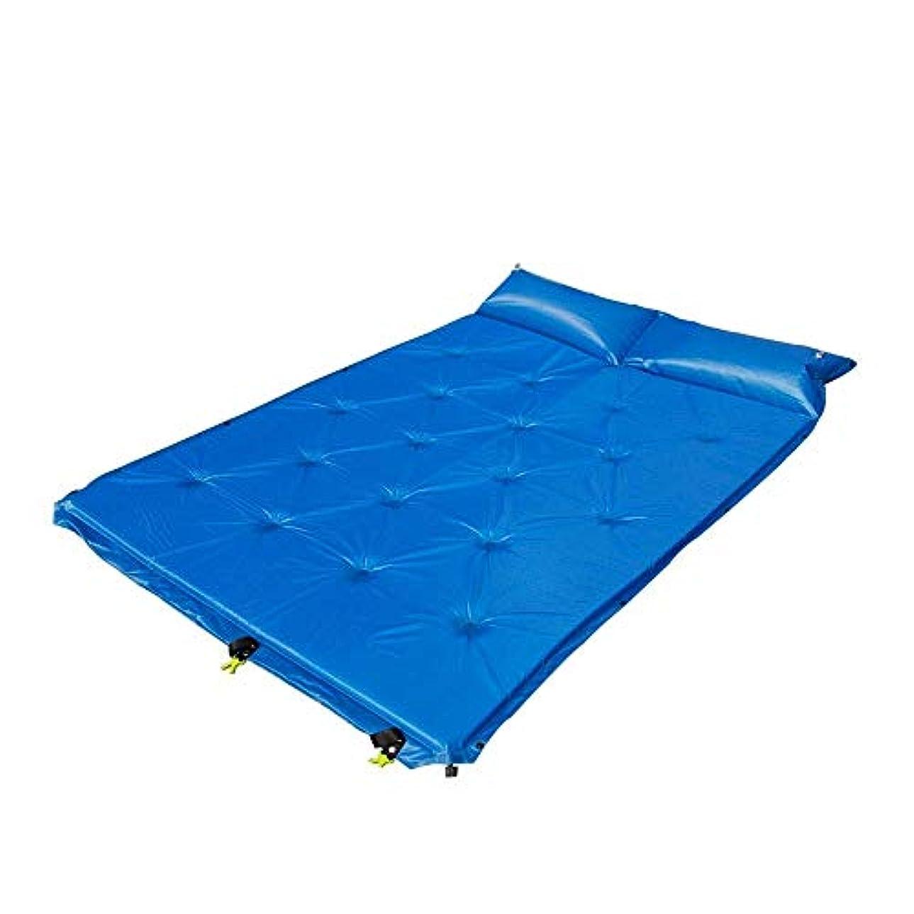 電気陽性邪魔する成功するZAQXSW 自動インフレータブルクッションアウトドアトラベルキャンプダブルスプライシング自己充填パッド (Color : Blue)