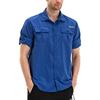 Clothin Men's Long Sleeve Vented Shirt Roll-Up Convetible Fishing Hiking - Lightweight Cooling Quick-Dry