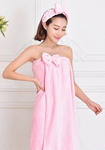 リボン が かわいい 着る バスタオル ヘア ターバン セット (1.ピンク)