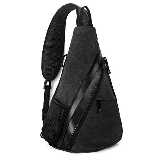 Unigear ボディバッグ ワンショルダー 斜めがけ メンズ バッグ 革 防水 男女共用 高品質でおしゃれなバッグ(ブラック)