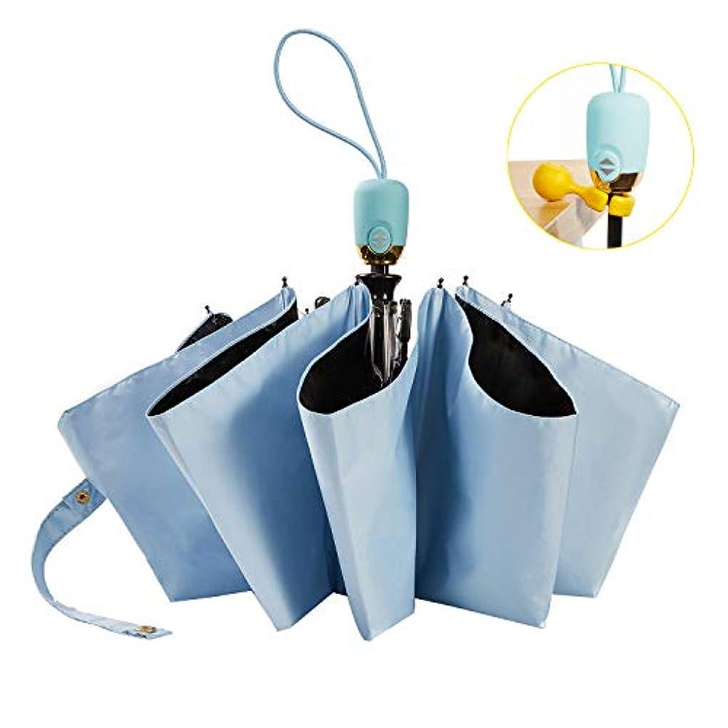 対角線スキップ普通の折りたたみ傘 ワンタッチ 自動開閉 日傘 梅雨 晴雨兼用 女性向け サイズ程度いい 軽量 持ち運び便利 UVカット遮熱 (ブルー)