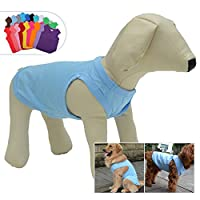 犬ノースリーブTシャツ、大型中型小型犬用のカジュアルドッグコットン服ベストTシャツ、100%着心地の良い、ペットのバック(M、浅青色)