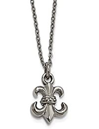 ChiselステンレススチールPolished Fleur De Lis With 2 Ext。ネックレス18.75