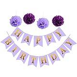 誕生日装飾、パープルとゴールドHappy誕生日バナーをパーティー紙ポンポン